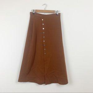 Sandro Paris Snap Stretch Brown Knit Midi Skirt L